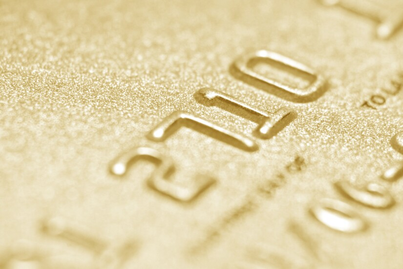 Gold-colored credit card