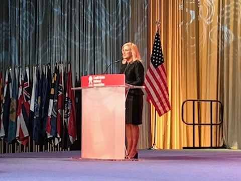 Xceed Financial CU CEO Teresa Freeborn speaks during the 2018 CUNA GAC in Washington
