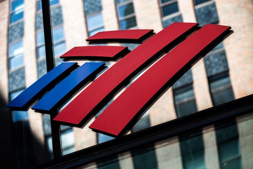 Bank Of America logo in glass ahead of July 2020 earnings