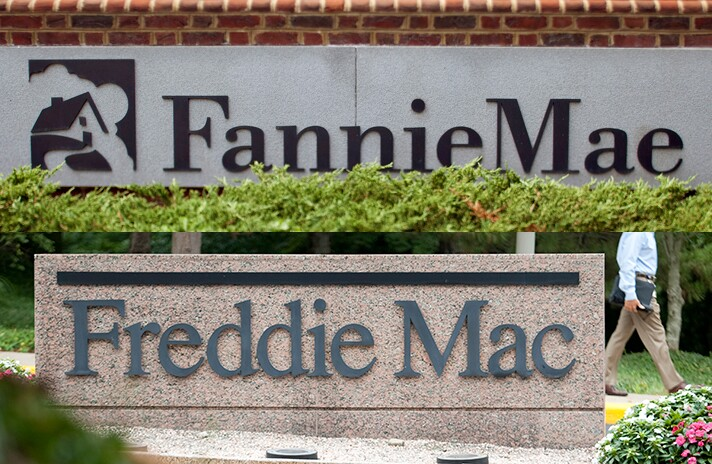 Signage in front of the Fannie Mae and Freddie Mac headquarters.