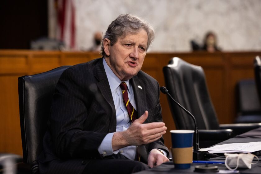 """""""Banking isn't a red-versus-blue battleground. Law-abiding Americans should have access to financial services regardless of political position,"""" said Sen. John Kennedy, R-La."""