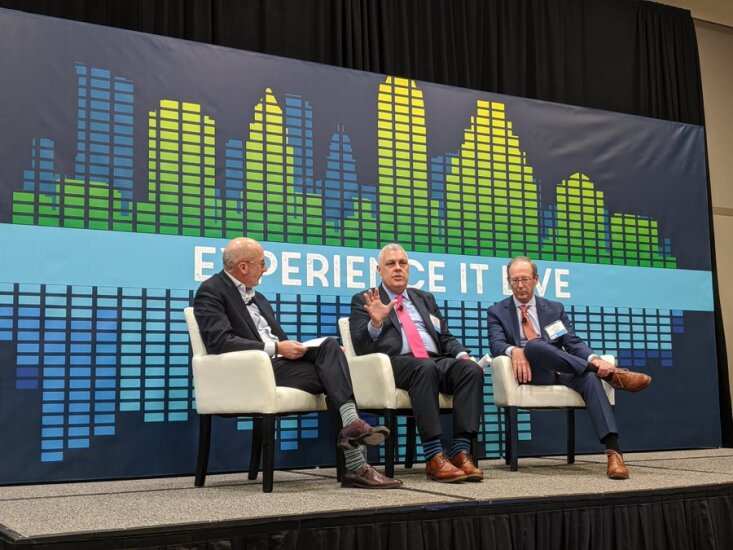 Tim Mayopoulos of Blend, Henry Cason of Fannie Mae, Tom Wind of U.S. Bank speak on their panel at the 2019 MBA Annual Conference