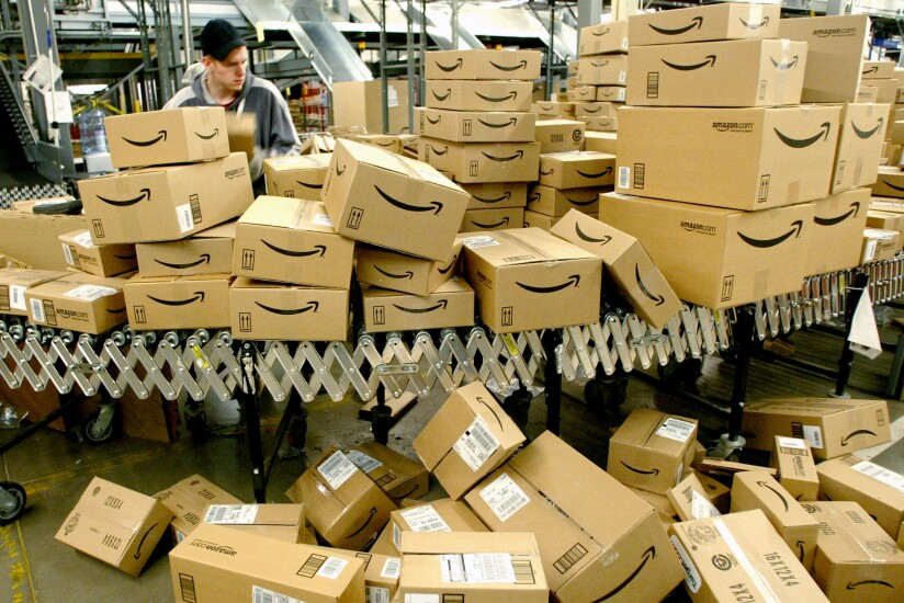 Amazon boxes being shipped