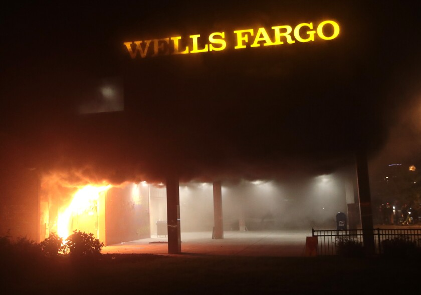 Wells Fargo branch on fire
