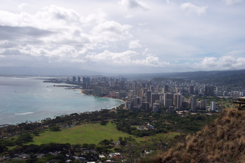 The view of Waikiki from Diamond Head in Hawaii