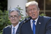President Trump speaks as Jerome Powell, then governor of the Federal Reserve and Trump's nominee as chairman of the Federal Reserve, left, listens during a nomination announcement in the Rose Garden of the White House in Washington on Nov. 2, 2017.