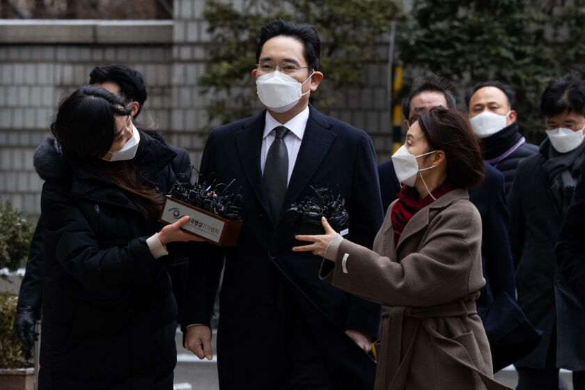 Samsung heir Jay Y. Lee is serving an 18-month jail sentence for bribery and has pledged not to create any more controversy over succession.