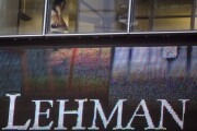 An employee inside Lehman Brothers headquarters in New York on Sept. 15, 2008, the date the firm filed the largest bankruptcy in U.S. history.