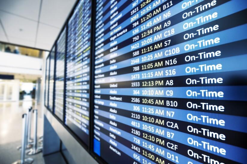 Airport flight status sign