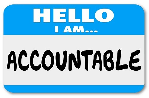 Hello I Am Accountable words on a name tag sticker showing you accept responsibility or blame for a problem