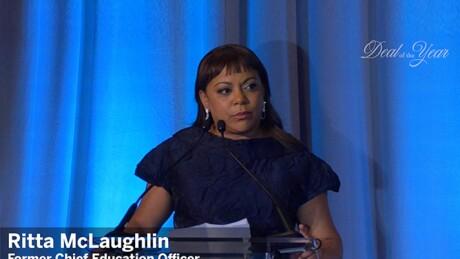 Thumbnail for Video: Ritta McLaughlin accepts public sector Freda Johnson award