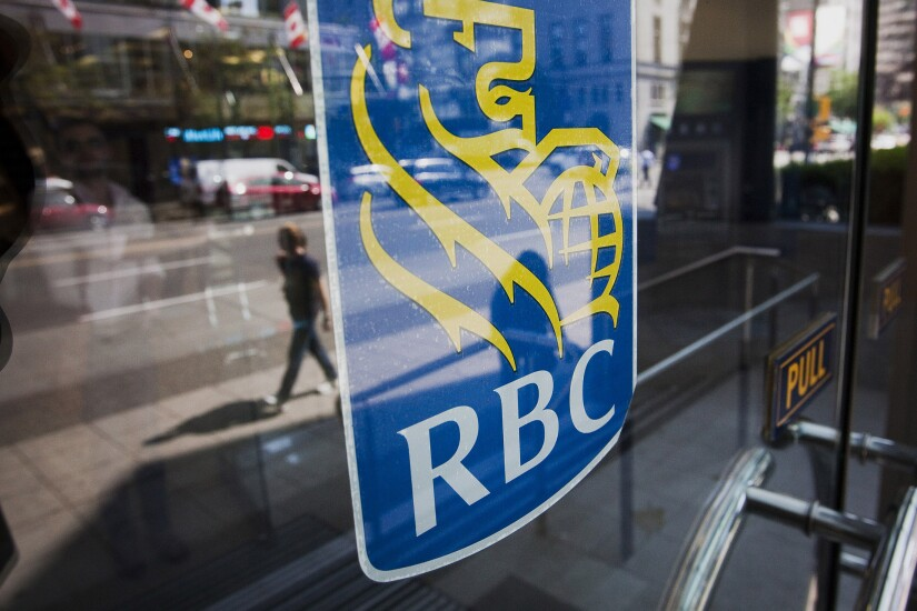 Royal Bank of Canada (RBC) signage on a bank branch door.