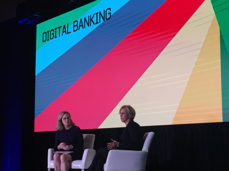 At American Banker's Digital Banking conference, American Banker Editor At Large Penny Crosman (l.) hosted a discussion with Cathy Bessant, Bank of America's chief technology and operations officer.