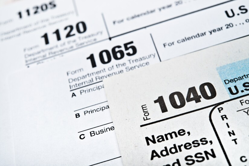 Individual and business tax forms 1040, 1065, 1120 and 1120S