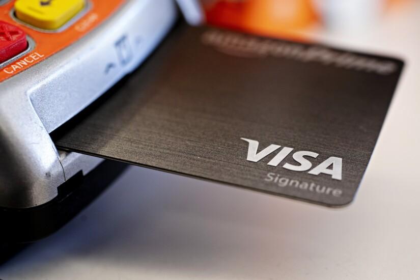 Visa card in reader