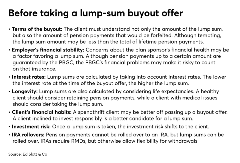 Before taking a lump-sum buyout offer
