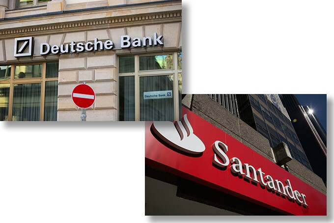 Signs on Deutsche Bank and Santander branches.