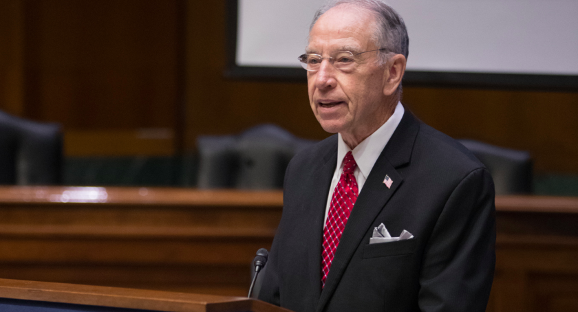 "Sen. Chuck Grassley (R-Iowa), speaking at a National Whistleblower Day event in Washington in July, says whistleblowers like financial advisor Johnny Burris should be ""protected and rewarded"" for exposing wrongdoing."