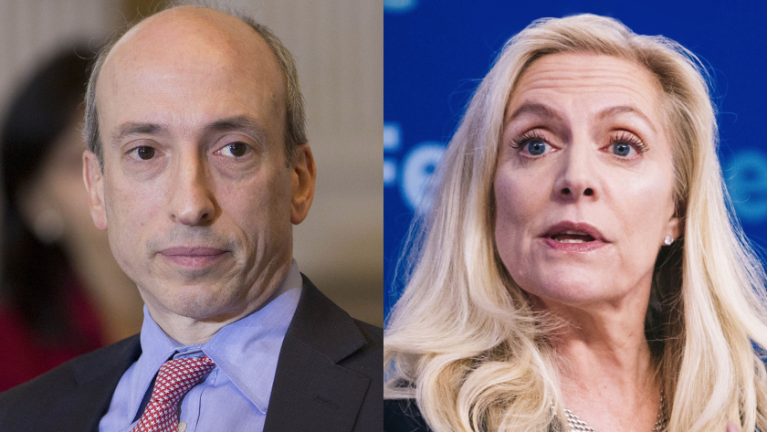 Gary Gensler, left, has reportedly been tapped to vet financial regulatory appointments for the Biden transition team. Fed Gov. Lael Brainard has been mentioned as a potential choice for Treasury secretary in the new administration.