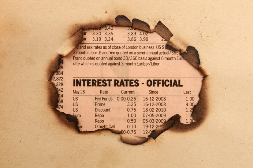 interest rate table from a newspaper