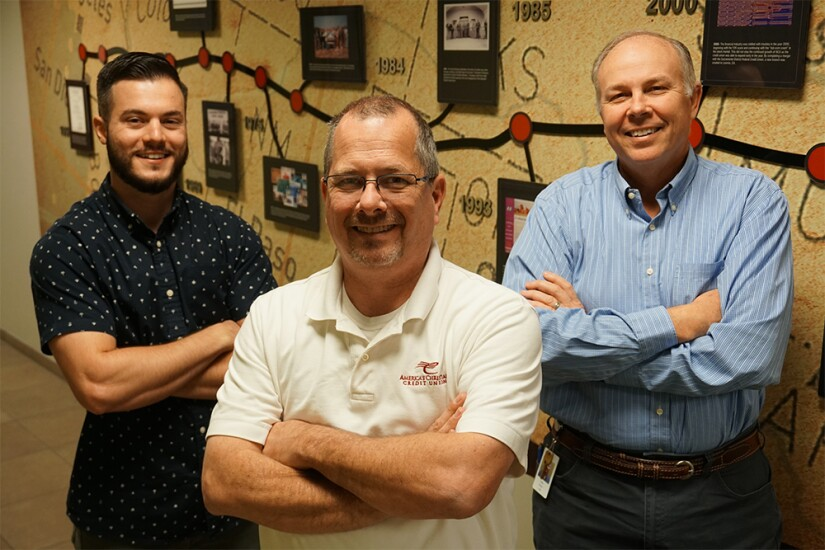 The IT team at America's Christian Credit Union includes, from left to righ,: Jonathan Ubovich, network administrator; Tim Trerise, information technology director; and Doug Warren, CISSP VP of information technology