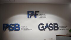 FASB, GASB and FAF logos on the wall at headquarters in Norwalk, Connecticut