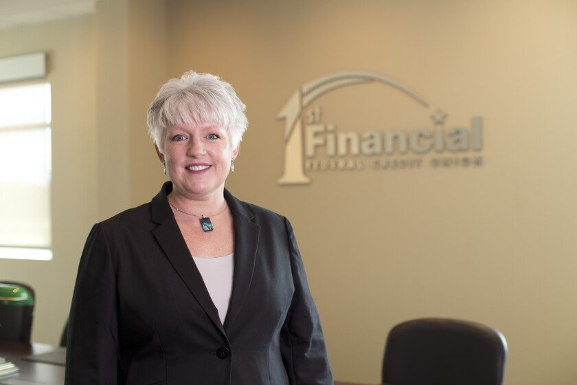 Carol Minges, CEO of 1st Financial Federal Credit Union in Wentzville, Mo., which will rebrand as Alltru Credit Union in November