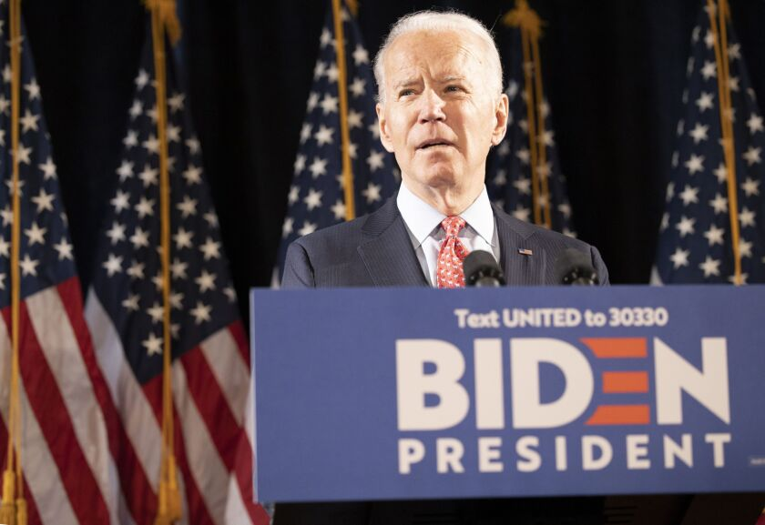Former Vice President Joe Biden, 2020 Democratic presidential candidate, speaks during a news conference in Wilmington, Delaware, U.S., on Thursday, March 12, 2020. Bidensought to deliver an antidote to PresidentDonald Trump's response to the coronavirus outbreak on Thursday, unveiling a new plan that shows how he would fight the spread of the virus and urging the administration to use it. Photographer: Ryan Collerd/Bloomberg