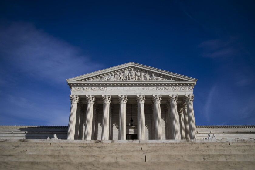 The U.S. Supreme Court building stands in Washington, D.C., U.S., on Tuesday, Jan. 22, 2019. A divided U.S. Supreme Court cleared President Donald Trump's administration to start barring most transgender people from serving in the armed forces. The justices, voting 5-4 Tuesday, put on hold lower court decisions that had blocked the administration's planned ban from taking effect. Photographer: Al Drago/Bloomberg