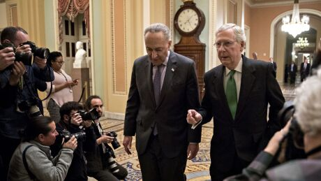 Senate Majority Leader Mitch McConnell, a Republican from Kentucky, right, talks to Senate Minority Leader Chuck Schumer, a Democrat from New York.
