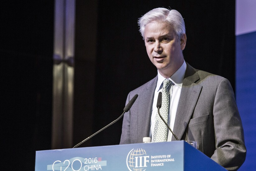 Charles Scharf, then the chief executive officer of Visa, speaks during the Institute of International Finance G-20 Conference in Shanghai, China.