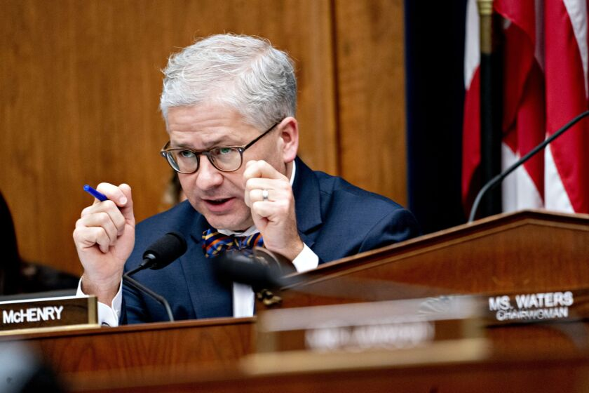Rep. Patrick McHenry, a Republican from North Carolina and ranking member of the House Financial Services Committee, speaks during a hearing.