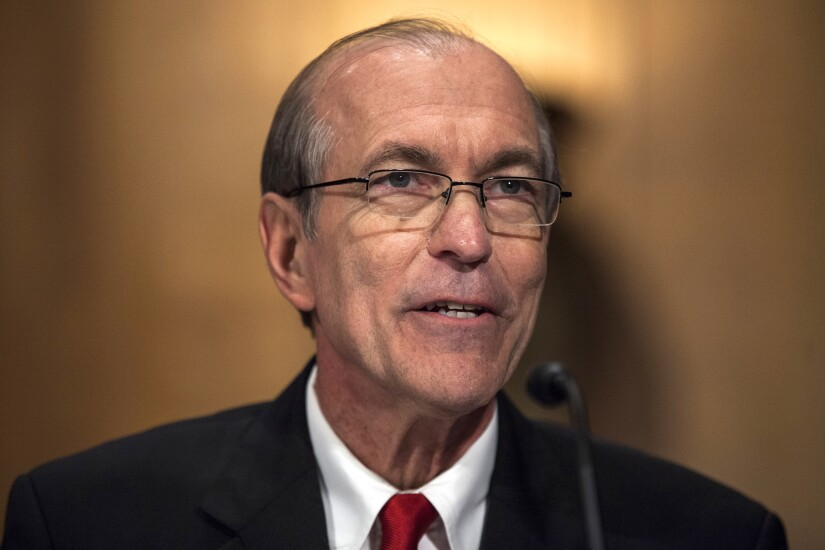 Scott Garrett, president of the Export-Import Bank nominee for President Trump, speaks during a Senate Banking, Housing, and Urban Affairs Committee confirmation hearing in Washington.