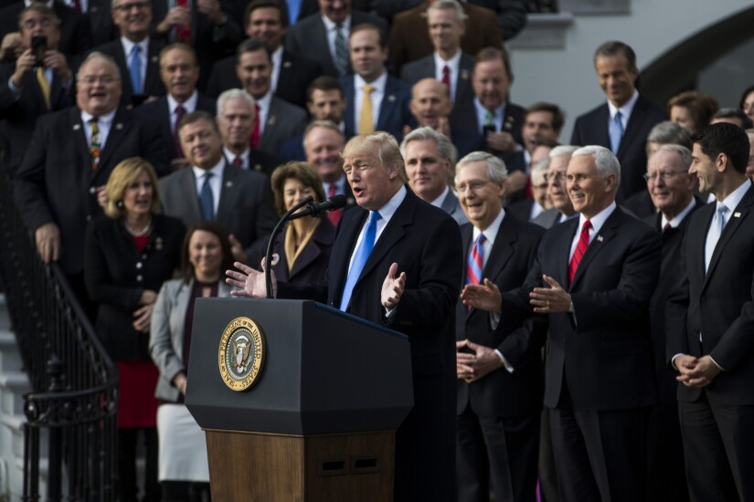 President Trump speaks during a tax bill passage event with Republican congressional leaders.