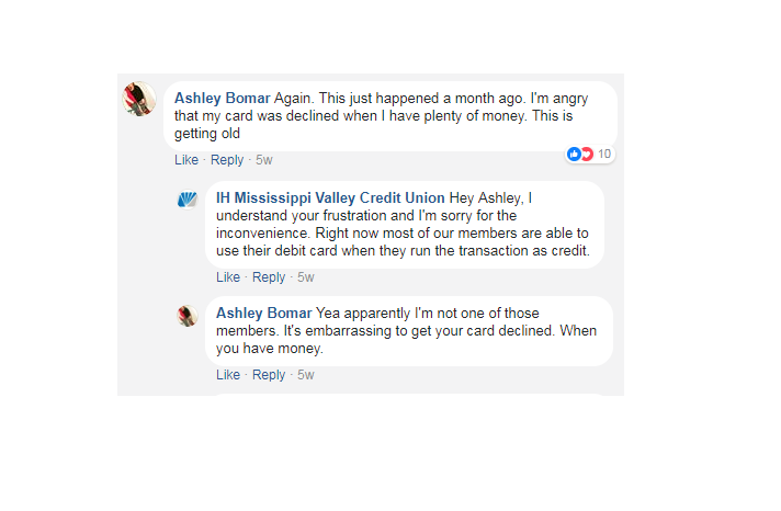 Customer of IH Mississippi Valley Credit Union goes off on bank's Facebook page.