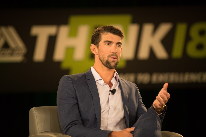 Michael Phelps speaking during the 2018 CO-OP THINK Conference in Chandler, Ariz.