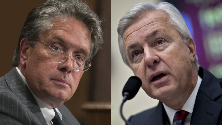 Thomas Curry, left, headed the OCC for much of the period covered by the new report, and John Stumpf, right, was the CEO at Wells Fargo.
