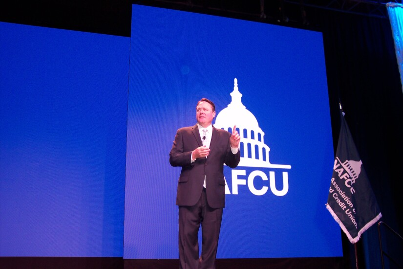 Dan Berger, president and CEO of the National Association of Federally-Insured Credit Unions, addressing the trade group's 2018 convention in Seattle.