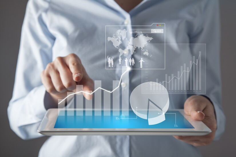 Tablet with 3D financial data