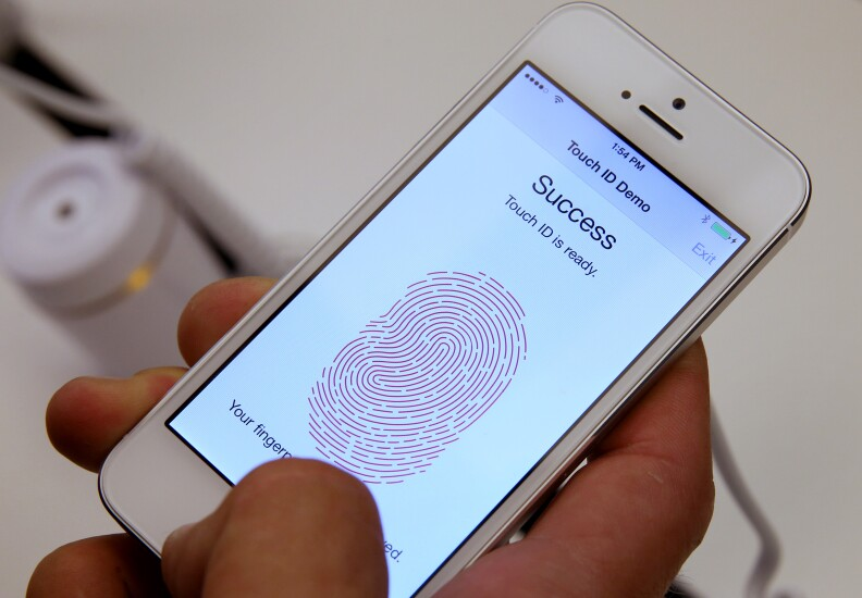 Touch ID on an Apple iPhone multi factor authentication