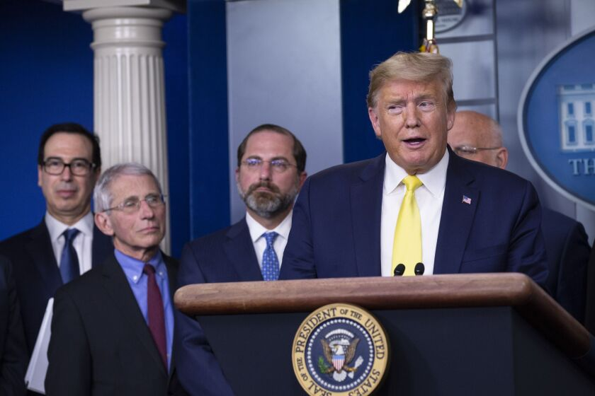 President Trump speaks during a news conference in Washington, D.C.  with members of the Coronavirus Task Force