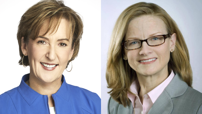Mary Mack, consumer banking chief of Wells Fargo on left; Carrie Tolstedt, her predecessor, on the right.
