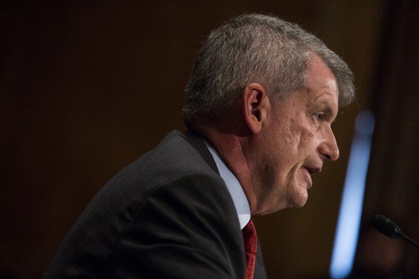 Tim Sloan, chief executive officer and president of Wells Fargo, speaks during a Senate Banking, Housing and Urban Affairs Committee hearing in Washington.