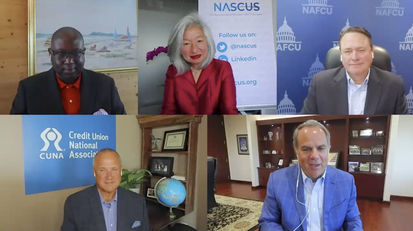 Clockwise from top left: NCUA Chairman Rodney Hood, NASCUS CEO Lucy Ito, NAFCU CEO Dan Berger, CUNA Mutual Group CEO Robert Trunzo and CUNA CEO Jim Nussle. The five spoke during a panel of credit union leaders held as part of CUNA Mutual's Discovery conference.