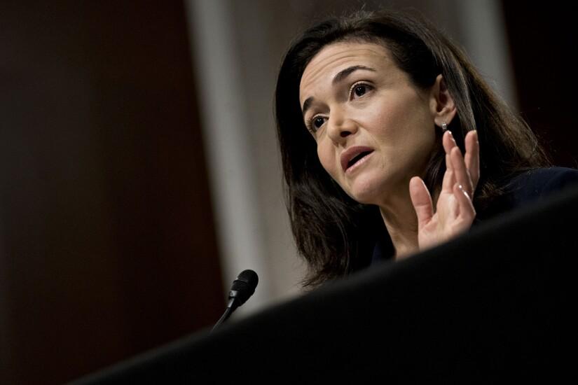 Sheryl Sandberg of Facebook testifying before the Senate