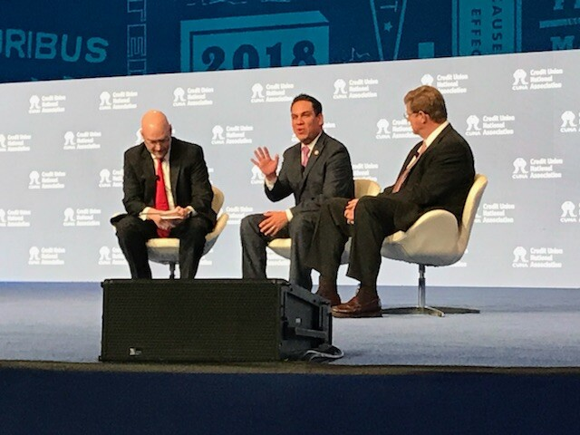 CUNA VP of Advocacy Ryan Donovan and U.S. Reps Pete Aguilar and Mark Amodei on stage during the 2018 CUNA GAC in Washington