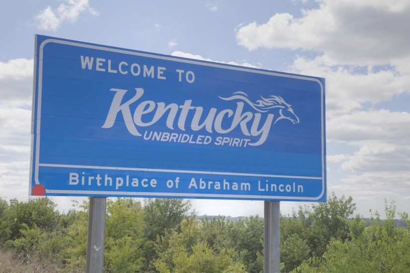 Welcome to Kentucky road sign for stock art.