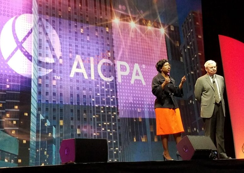 AICPA chairman Kimberly Ellison-Taylor and president and CEO Barry Melancon at Engage 2017