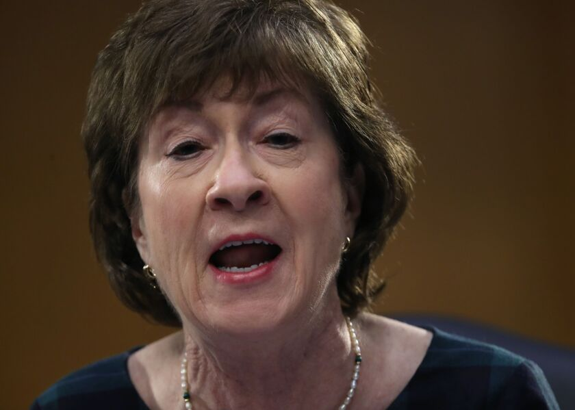 Maine Senator Susan Collins didn't oppose the bill but said she was concerned about the way the House drafted a provision reducing the current requirement that 75% of a loan be used on payroll.