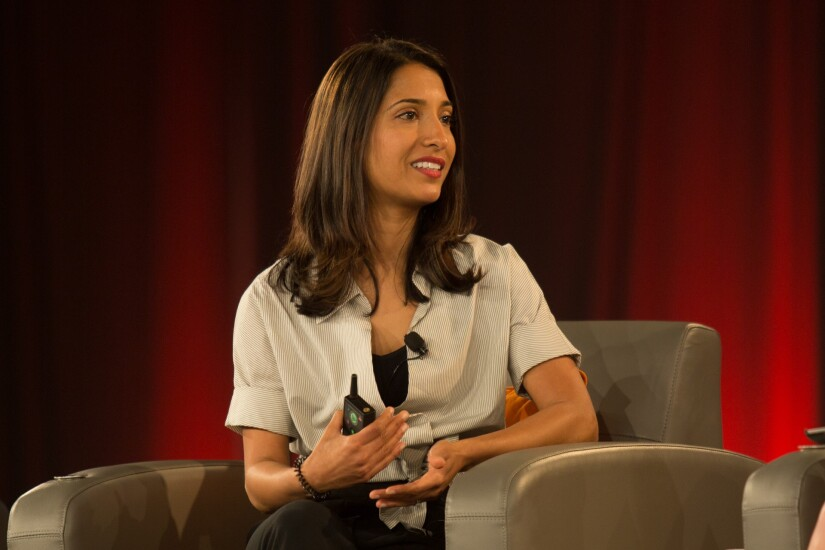 Shivani Siroya, founder and CEO of Tala, speaking at the 2018 CO-OP THINK Conference in Chandler, Ariz.